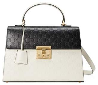 Gucci Medium Padlock Top Handles Signature Leather Satchel