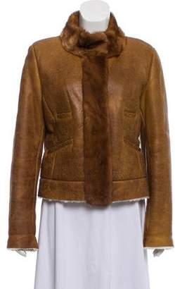 Prada Mink-Trimmed Shearling Jacket