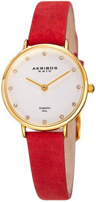 Akribos XXIV Women's Genuine Leather Diamond Watch