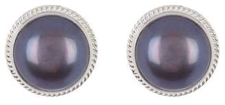 Anna Beck Large Sterling Silver Blue Pearl Stud Earrings