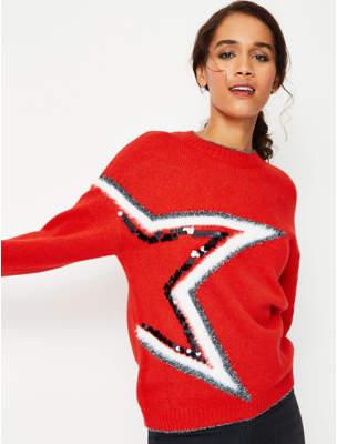 George Red Sequin Shimmering Star Detail Jumper