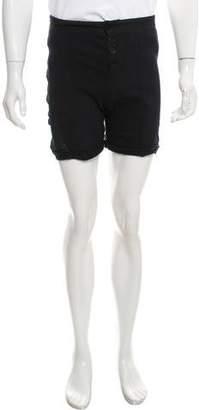 Raquel Allegra Distressed Flat Front Shorts