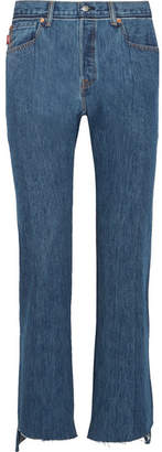 Vetements - Levi's Distressed High-rise Straight-leg Jeans - Blue $1,350 thestylecure.com
