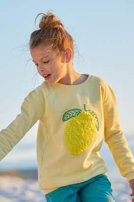 Fat Face Girls FatFace Yellow Lemon Crew Neck Sweat - Yellow