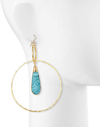 Devon Leigh Carved Turquoise Large Circle Earrings