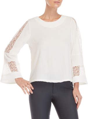 Sioni Lace Insert Bell Sleeve Top