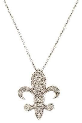14K Diamond Fleur de Lis Pendant Necklace