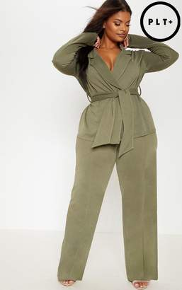 PrettyLittleThing Plus Burgundy High Waisted Wide Leg Trousers