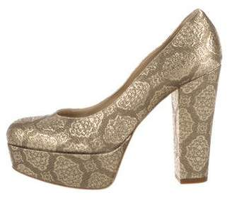 Stella McCartney Brocade Round-Toe Platform Pumps