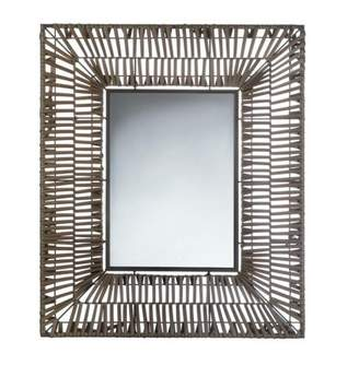 Accent Plus FAUX RATTAN RECTANGULAR WALL MIRROR