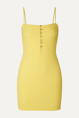 Vix Sunkisses Ribbed Stretch-jersey Mini Dress - Yellow