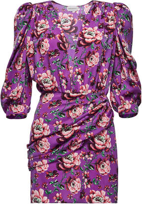 Magda Butrym Faro Ruched Floral-Print Silk-Satin Mini Dress