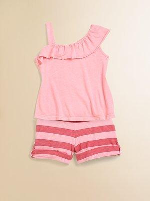 Little Ella Toddler's & Little Girl's Ruffled Top & Striped Shorts Set