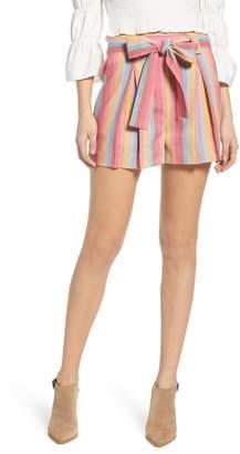 Moon River Stripe Cotton & Linen Shorts