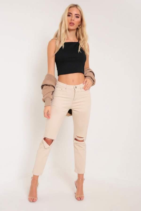 Isawitfirst Cream High Waist Straight Leg Jeans