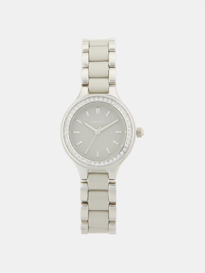 DKNY Chambers Stainless Steel And Grey Ceramic 3 Hand Watch