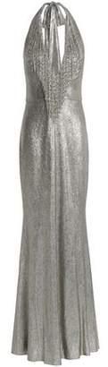 Badgley Mischka Bead-Embellished Lamé Halterneck Gown
