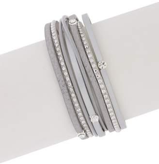 Saachi Segovia Crystal Multi-Strand Faux Leather Wrap Bracelet