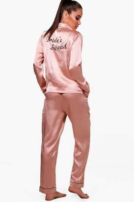 boohoo Olivia Brides Squad Satin Trouser Set