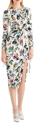 Jason Wu Drawstring-Sleeve Floral-Print Jersey Day Dress w/ Slit