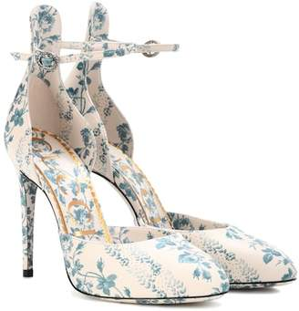 Gucci Floral-printed leather pumps