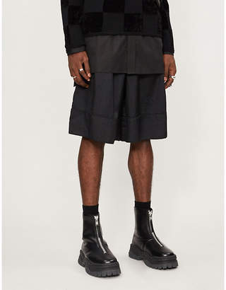 Comme des Garcons Wide-leg high-rise jacquard shorts