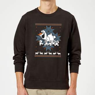 Disney Frozen Christmas Olaf And Snowmens Black Christmas Sweatshirt