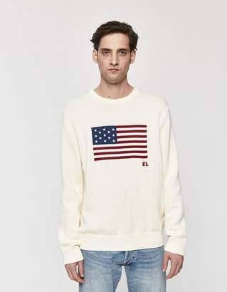 Polo Ralph Lauren Icon American Flag Knit Sweater in Cream