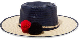 Sophie Anderson - Laila Pompom-embellished Toquilla Straw Hat - Navy $380 thestylecure.com