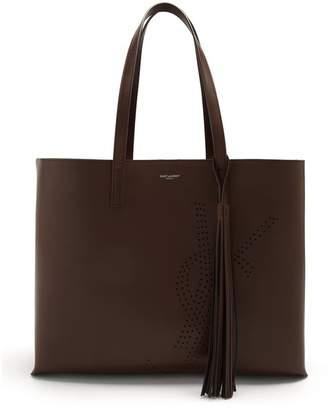 Saint Laurent Perforated Logo Leather Tote - Womens - Dark Brown