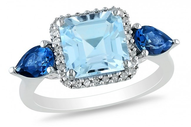 Ice 3 7/8 CT London and Sky Blue Topaz and Diamond Sterling Silver Ring