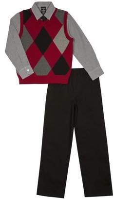 George Boys' Red & Black Argyle Sweater Vest 4-Piece Outfit Set
