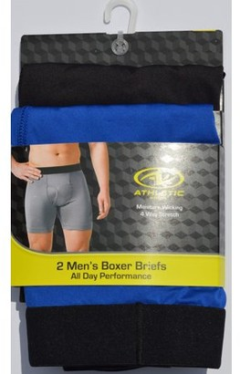 Athletic Works Mens Assorted Tagless Boxer Briefs, 2-pack