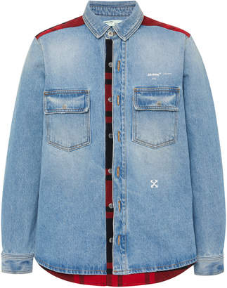 Off-White Printed Flannel-Paneled Denim Shirt