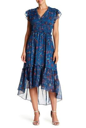Taylor Printed Chiffon Hi-Lo Midi Dress