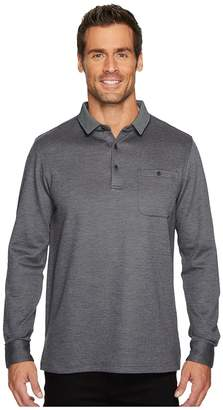 Bugatchi Long Sleeve Three-Button Polo Collar Fancy Knit w/ Cuff Pocket Men's Clothing