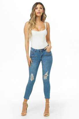 Forever 21 Distressed Capri Jeans