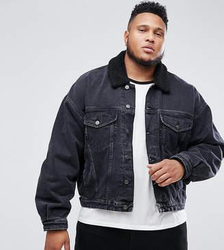 Asos Design PLUS Oversized Denim Jacket with Borg Collar in Washed Black