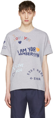 Kenzo Grey Valentines Text T-Shirt $120 thestylecure.com