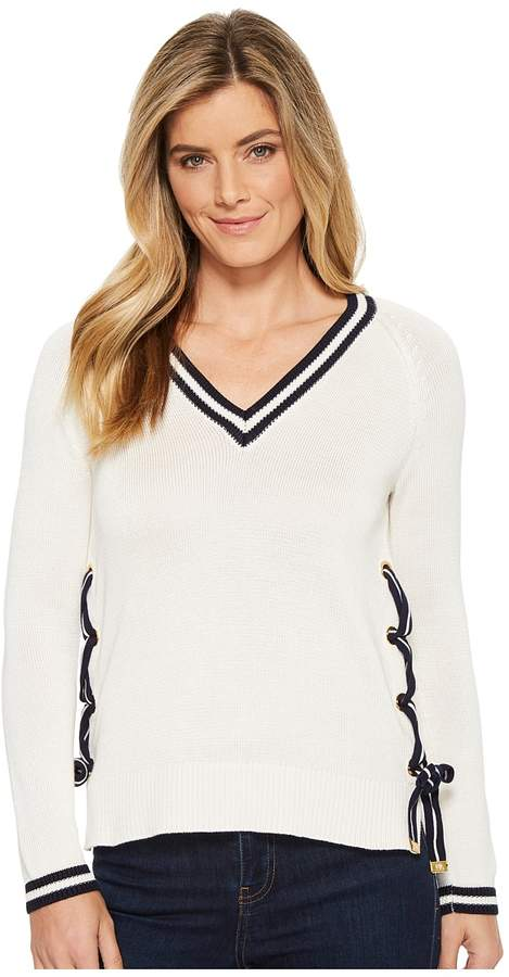LAUREN Ralph Lauren Two-Tone Lace-Up Sweater Women's Sweater