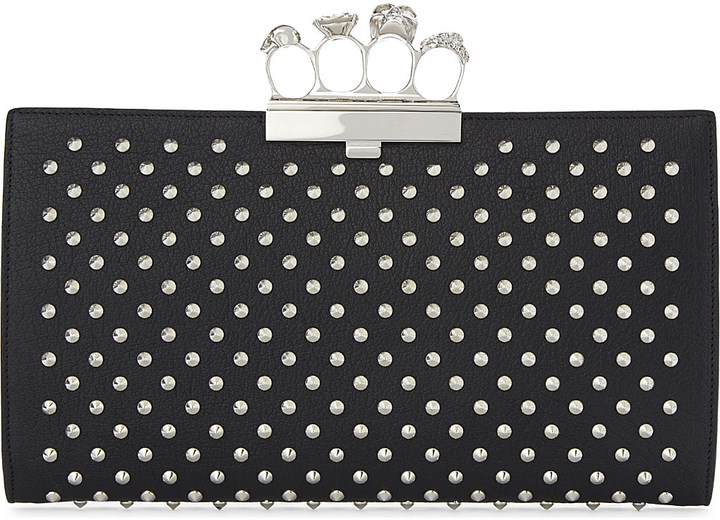 Alexander McQueen Alexander Mcqueen Knuckleduster studded leather clutch