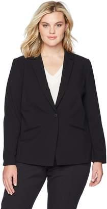 Tahari by Arthur S. Levine Women's Plus Size Bi-Stretch One Button Jacket with Pinstripe Lining