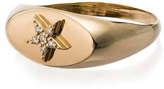 Foundrae gold star diamond embellished signet ring