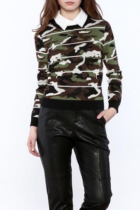 Veronica Beard Alpha Camo Jacquard Sweater $395 thestylecure.com