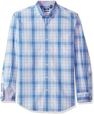 Izod Men's Button Down Long Sleeve Stretch Performance Plaid Shirt