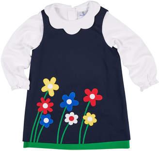 Florence Eiseman Twill Flower Applique Dress w/ Scallop-Collar Top, Size 2-6X