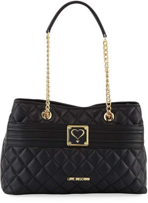 Love Moschino Quilted Napa Faux-Leather Shoulder Bag, Black