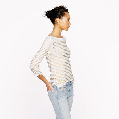 J.Crew Engineered-stripe boatneck top