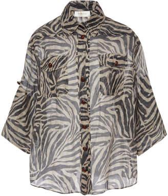 Zimmermann Zebra-Print Linen Shirt