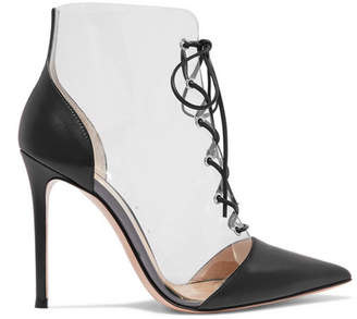 Gianvito Rossi 105 Lace-up Pvc And Leather Ankle Boots - Black